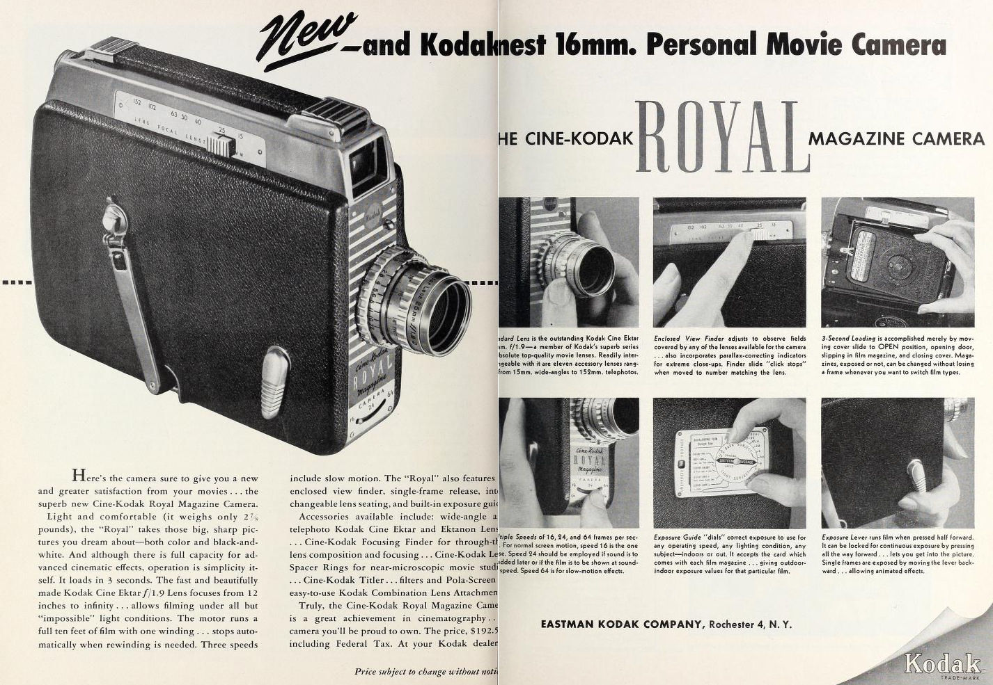 "Ciné Kodak ""Royal"" - Movie Maker Mars 1951"
