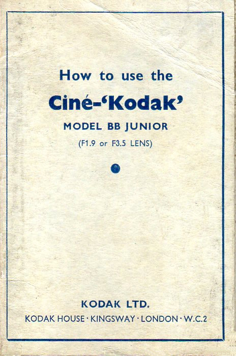 Ciné Kodak Model BB Junior Manual en